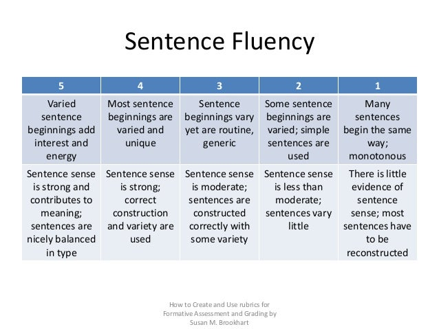Rubric Sentence Examples
