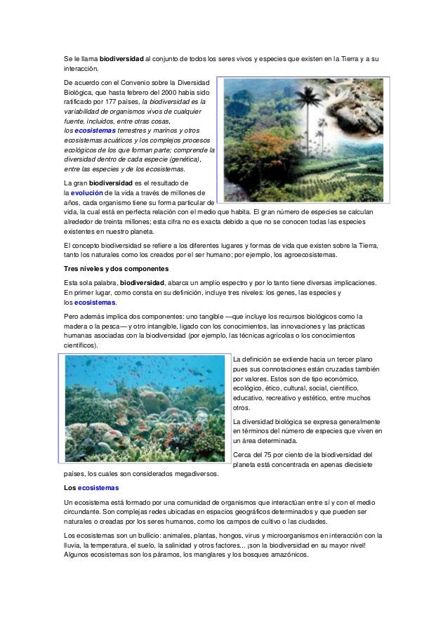 Se le llama biodiversidad al conjunto de todos los seres vivos y especies que existen en la Tierra y a suinteracción.De ac...