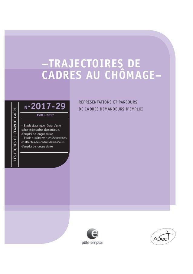 25ebf54ac09 –TRAJECTOIRES DE CADRES AU CHÔMAGE– LESÉTUDESDEL EMPLOICADRE N°2017-29  AVRIL ...