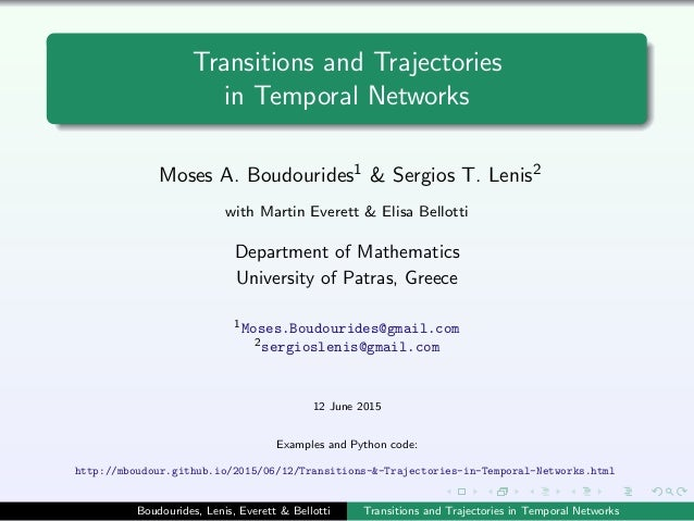 Transitions and Trajectories in Temporal Networks Moses A. Boudourides1 & Sergios T. Lenis2 with Martin Everett & Elisa Be...