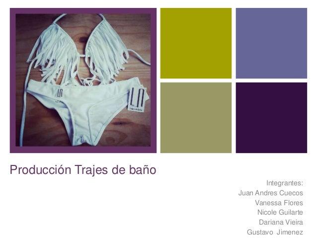 +  Producción Trajes de baño Integrantes: Juan Andres Cuecos Vanessa Flores Nicole Guilarte Dariana Vieira Gustavo Jimenez