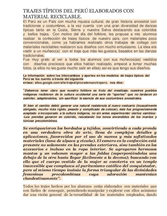 3911dfe59 TRAJES TÍPICOS DEL PERÚ ELABORADOS CON MATERIAL RECICLABLE. El Perú es un  País con mucha ...