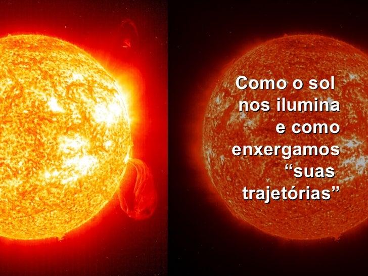 """Como o sol  nos ilumina e como enxergamos """"suas  trajetórias"""""""