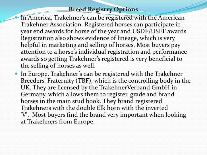 Breed Registry Options In America, Trakehner's can be registered with the American  Trakehner Association. Registered hor...