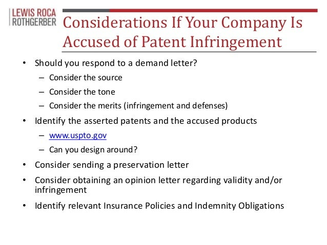 Submission 29 Considerations If Your Company Is Accused Of Patent Infringement O Should You Respond To A Demand Letter