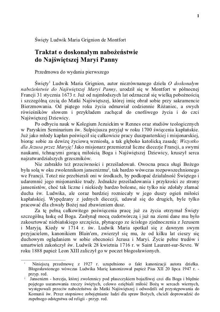 1        Święty Ludwik Maria Grignion de Montfort        Traktat o doskonałym nabożeństwie        do Najświętszej Maryi Pa...