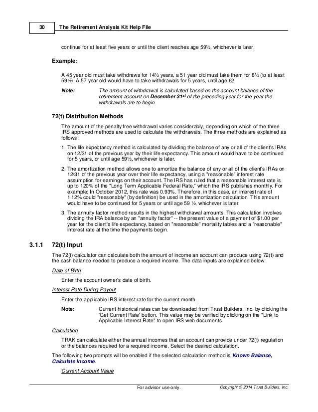 Trak The Retirement Analysis Kit Users Manual