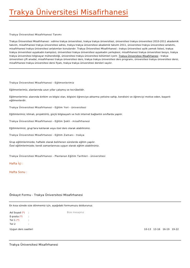 Trakya Üniversitesi MisafirhanesiTrakya Üniversitesi Misafirhanesi TanımıTrakya Üniversitesi Misafirhanesi : edirne trakya...