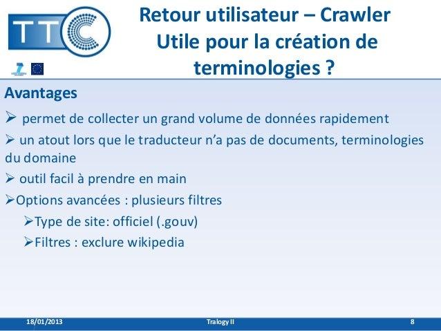 Retour utilisateur – Crawler                       Utile pour la création de                           terminologies ?Avan...