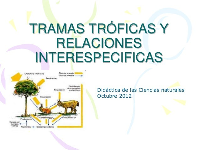 TRAMAS TRÓFICAS Y RELACIONES INTERESPECIFICAS Didáctica de las Ciencias naturales Octubre 2012