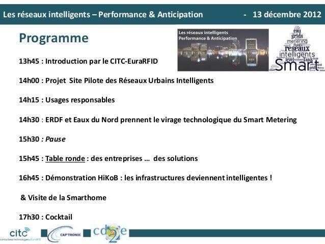 Les réseaux intelligents – Performance & Anticipation - 13 décembre 2012Programme13h45 : Introduction par le CITC-EuraRFID...