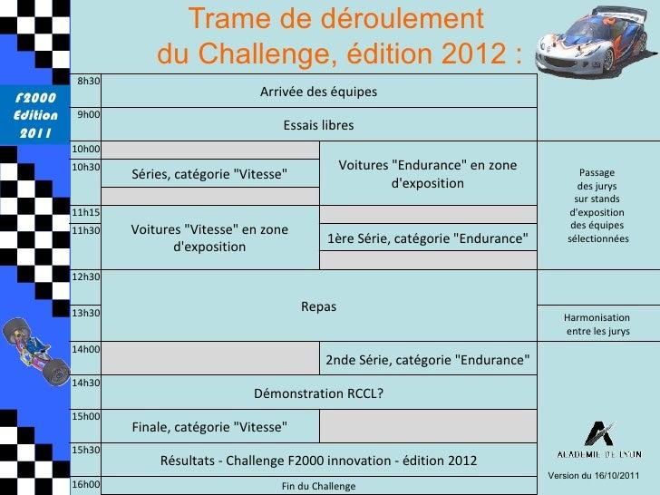 Trame de déroulement                      du Challenge, édition 2012 :          8h30F2000                                 ...