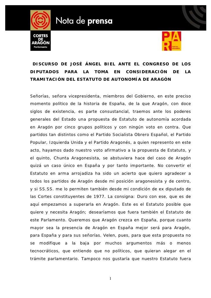 DISCURSO DE JOSÉ ÁNGEL BIEL ANTE EL CONGRESO DE LOS DIPUTADOS        PARA      LA    TOMA       EN   CONSIDERACIÓN        ...