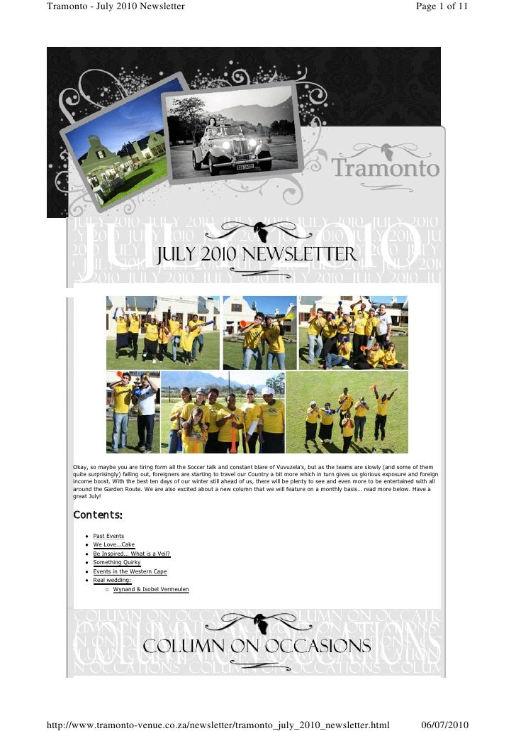 Tramonto - July 2010 Newsletter                                                                                           ...