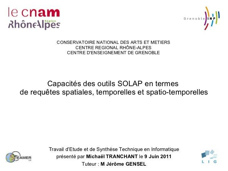 Capacités des outils SOLAP en termes  de requêtes spatiales, temporelles et spatio-temporelles CONSERVATOIRE NATIONAL DES ...
