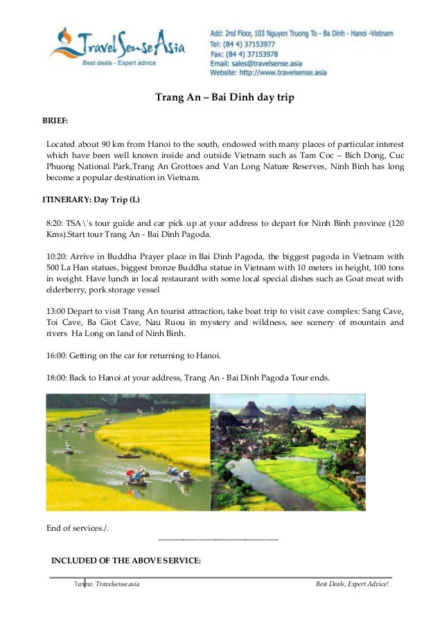 1www. Travelsense.asia Best Deals, Expert Advice! Trang An – Bai Dinh day trip BRIEF: Located about 90 km from Hanoi to th...