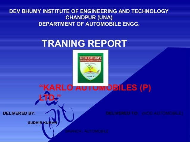 automobile workshop ppt Traning report by c rang rajan and