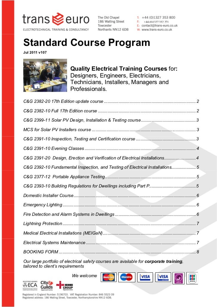 +44 (0)1327 352 271  Standard Course Program  Jul 2011 v107                                         Quality Electrical Tra...