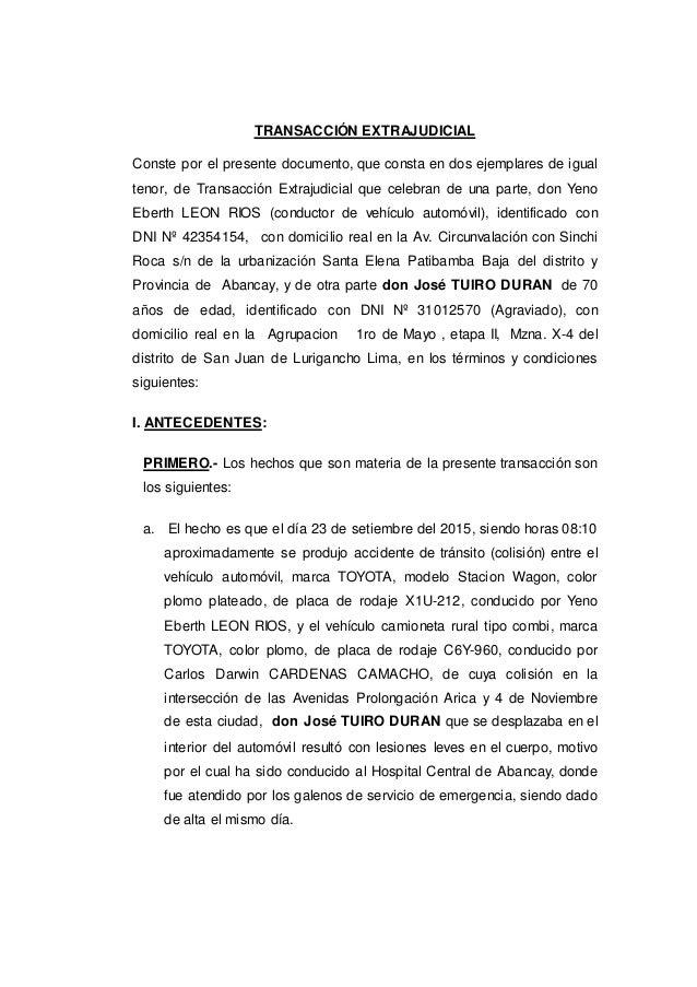 Transacci n extrajudicia por lesiones for Modelo acuerdo extrajudicial clausula suelo