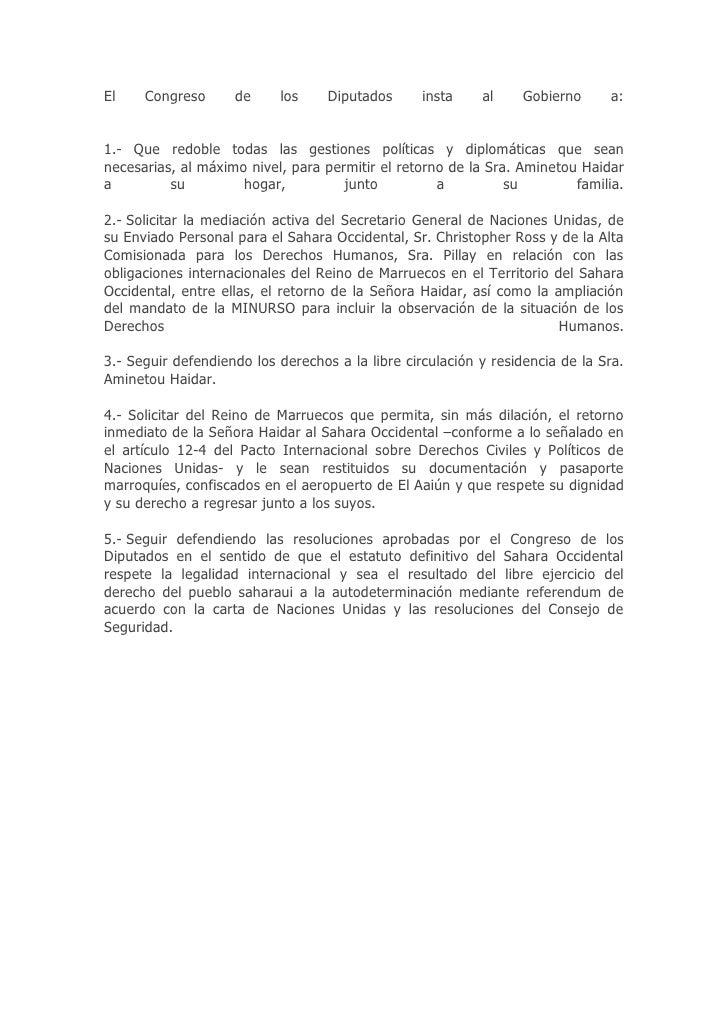 El    Congreso      de     los     Diputados      insta    al     Gobierno     a:   1.- Que redoble todas las gestiones po...