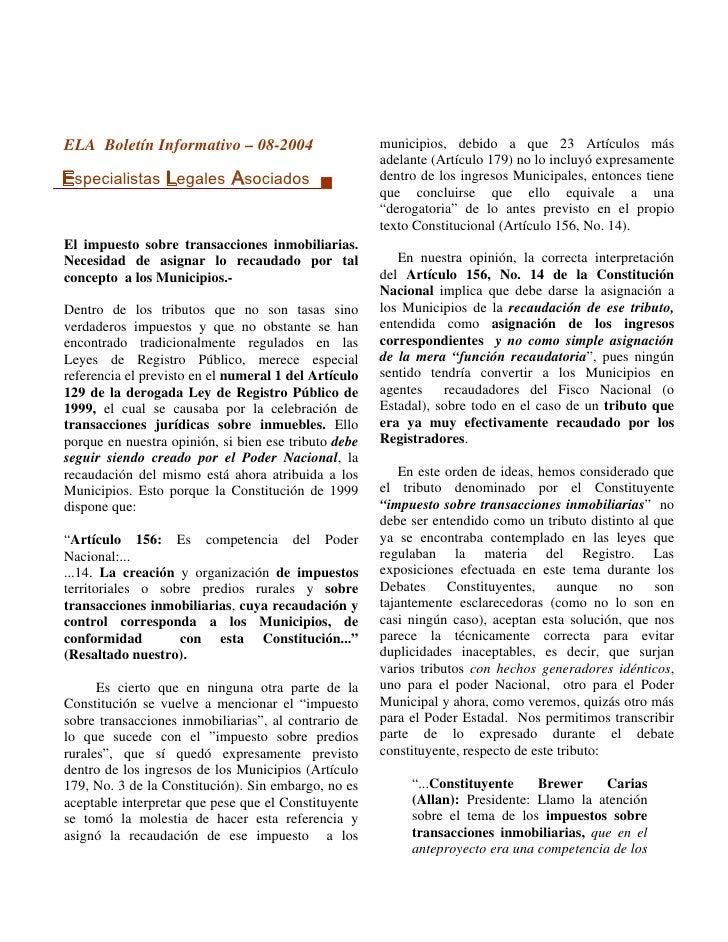 ELA Boletín Informativo – 08-2004                     municipios, debido a que 23 Artículos más                           ...