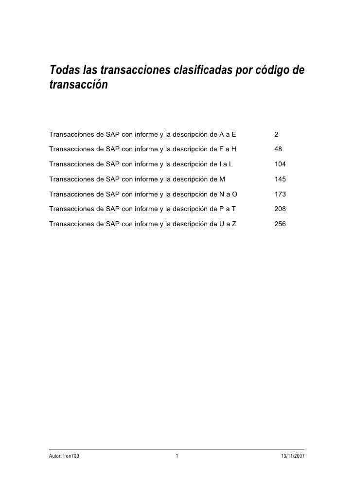 Todas las transacciones clasificadas por código detransacciónTransacciones de SAP con informe y la descripción de A a E   ...
