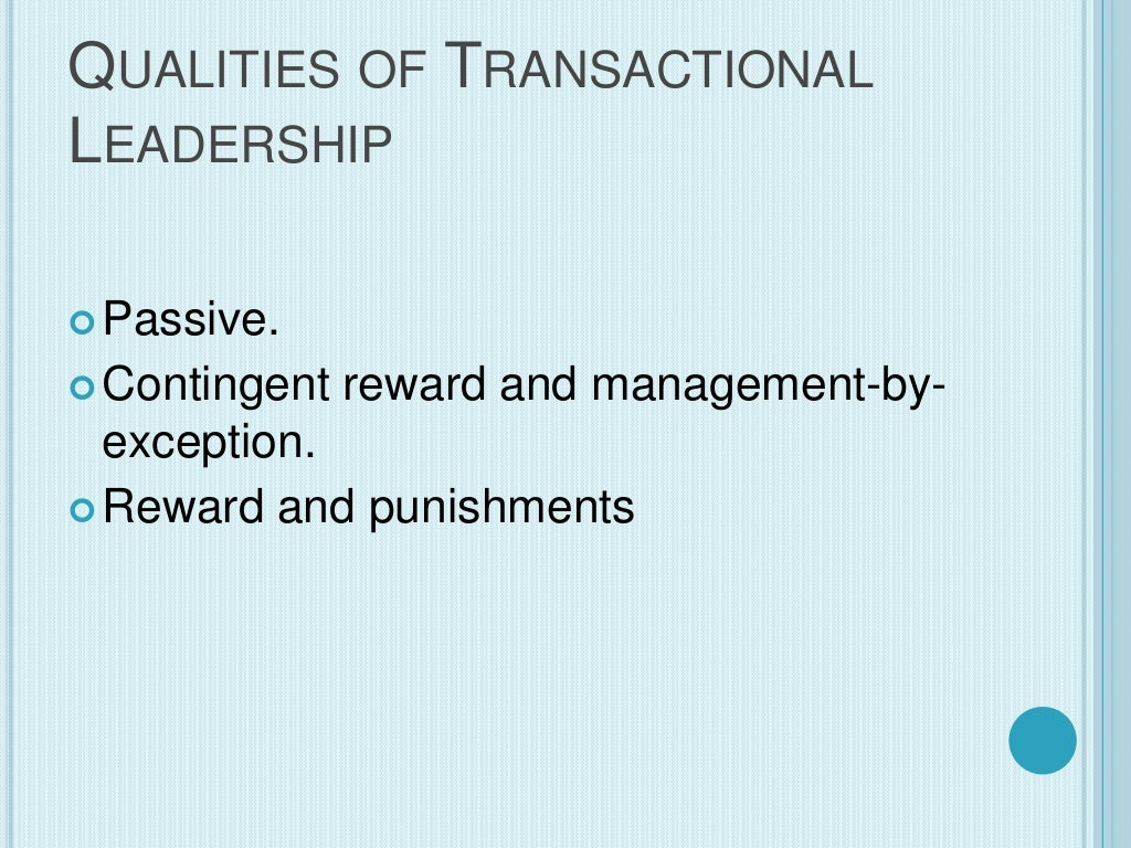 transformational leadership vs transactional leadership The most noticeable disadvantage of transformational leadership is its dependence on the intellect, initiative and skills of employees when the employees fail to deliver, the transformational leadership style falls apart.