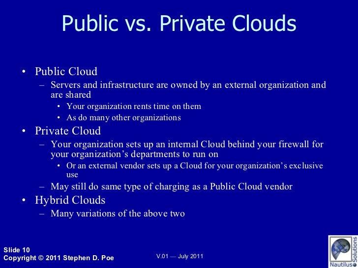 Public vs. Private Clouds <ul><li>Public Cloud </li></ul><ul><ul><li>Servers and infrastructure are owned by an external o...