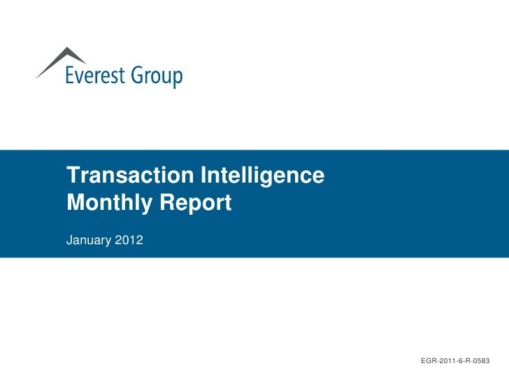 Transaction IntelligenceMonthly ReportJanuary 2012                           EGR-2011-6-R-0583