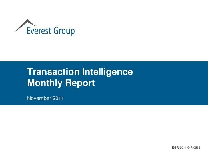 Transaction IntelligenceMonthly ReportNovember 2011                           EGR-2011-6-R-0583