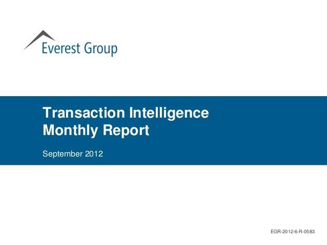 Transaction IntelligenceMonthly ReportSeptember 2012                           EGR-2012-6-R-0583