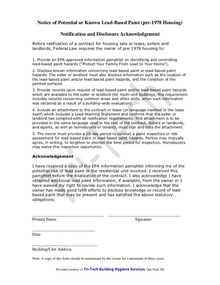 Notice of Potential or Known Lead-Based Paint (pre-1978 Housing)                  Notification and Disclosure Acknowledgem...