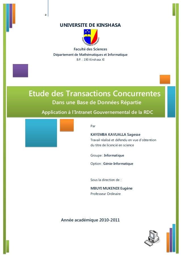 a UNIVERSITE DE KINSHASA Faculté des Sciences Département de Mathématiques et Informatique B.P. : 190 Kinshasa XI Par KAYE...