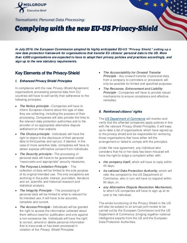 Transatlantic Personal Data Processing: Complying with the new EU-US Privacy Shield