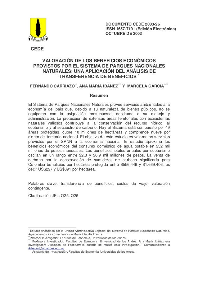 DOCUMENTO CEDE 2003-26                                                        ISSN 1657-7191 (Edición Electrónica)        ...