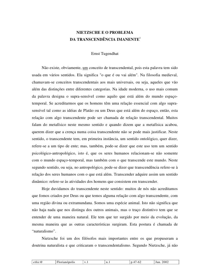 NIETZSCHE E O PROBLEMA                           DA TRANSCENDÊNCIA IMANENTE1                                             E...