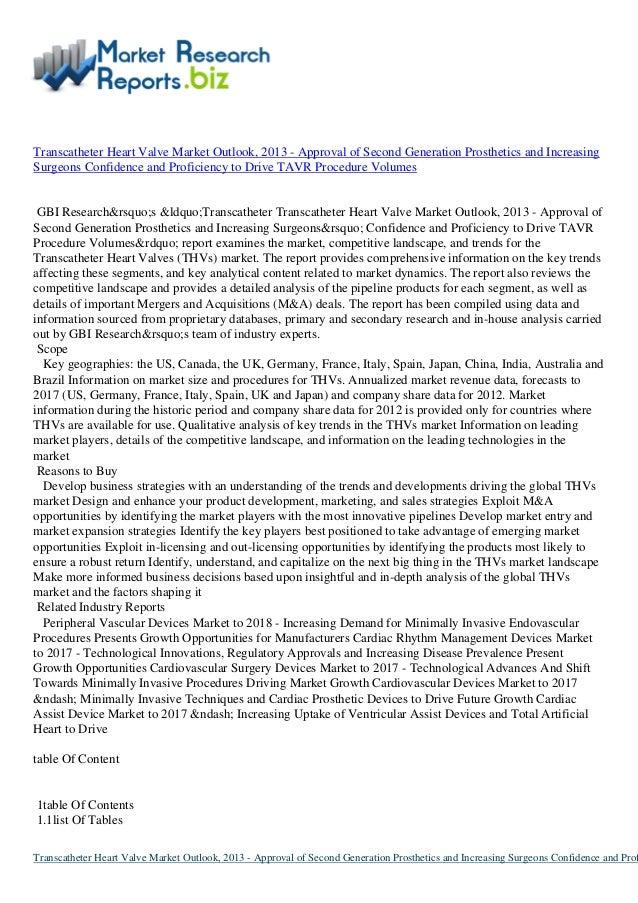 Transcatheter Heart Valve Market Outlook, 2013 - Approval of Second Generation Prosthetics and IncreasingSurgeons Confiden...