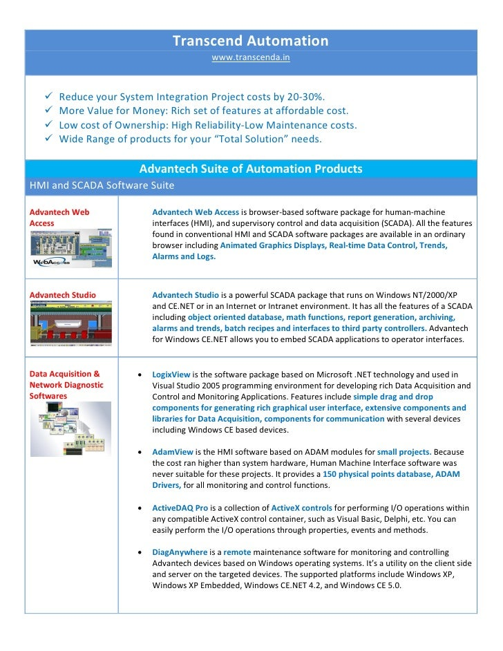 Transcend Automation                                            www.transcenda.in          Reduce your System Integration...