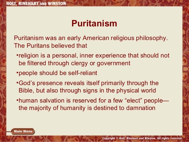 the puritan and transcendentalist beliefs in god They believed that a select few were chosen by god to be saved and that only what puritans believed to be a what were the five basic puritan beliefs.