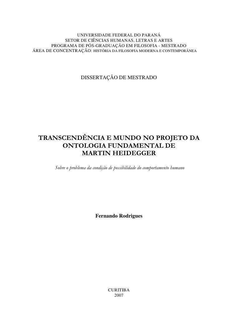 Transcendência e mundo no projeto da ontologia fundamental de martin heidegger 1º