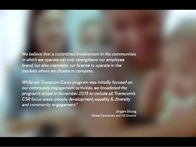 Transcom Cares Facts, November 2013