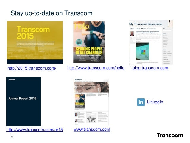 13 www.transcom.com blog.transcom.com LinkedIn Stay up-to-date on Transcom http://www.transcom.com/hello http://www.transc...