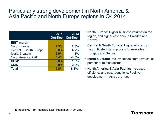 10 • North Europe: Higher business volumes in the region, and higher efficiency in Sweden and Norway • Central & South Eur...