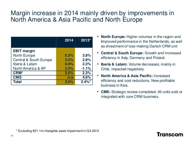 13 * Excluding €21.1m intangible asset impairment in Q4 2013 • North Europe: Higher volumes in the region and improved per...