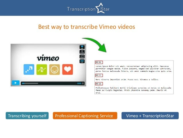 Best way to transcribe Vimeo videos Transcribing yourself Professional Captioning Service Vimeo + TranscriptionStar