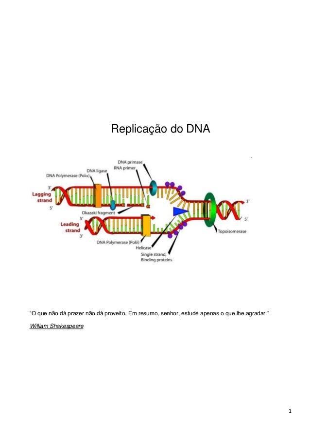 """Replicação do DNA  """"O que não dá prazer não dá proveito. Em resumo, senhor, estude apenas o que lhe agradar."""" William Shak..."""