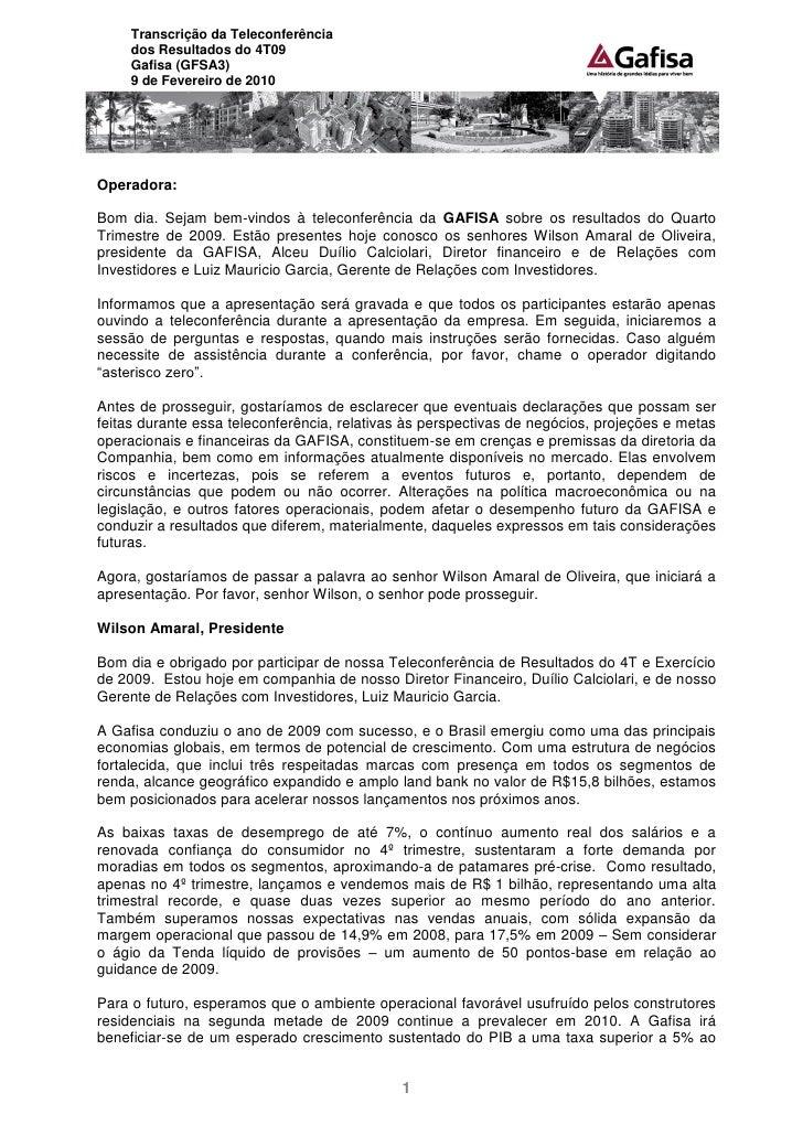 Transcrição da Teleconferência do 4T09