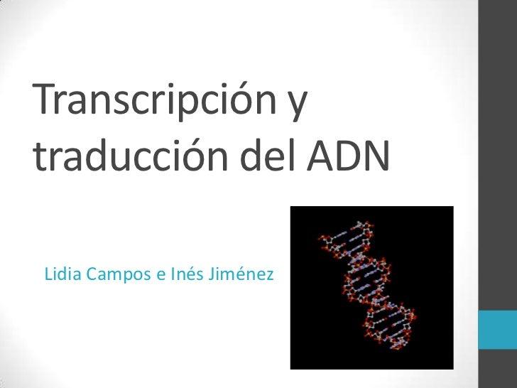 Transcripción ytraducción del ADNLidia Campos e Inés Jiménez