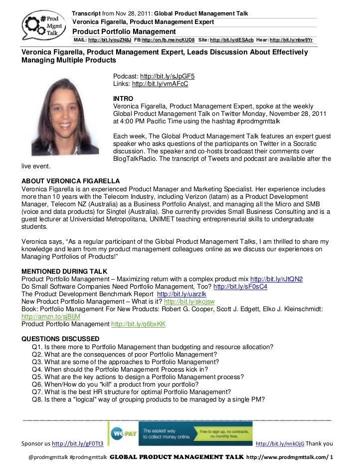Transcript from Nov 28, 2011: Global Product Management Talk                   Veronica Figarella, Product Management Expe...