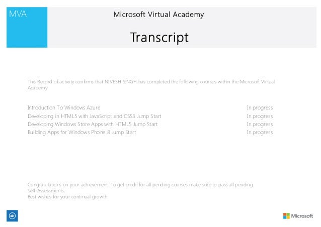 This Record of activity confirms that NIVESH SINGH has completed the following courses within the Microsoft Virtual Academ...